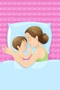 Mother sleeping with baby easy to edit vector illustration of Stock Images