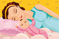 Mother sleeping with a baby vector illustration of on bed Stock Photography