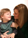 Mother and Small Boy Stock Images