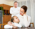 Mother solace to crying daughter Royalty Free Stock Photo