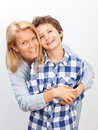 Mother and son a beautiful women her teenage at home Royalty Free Stock Image