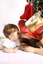 Mother and son at Christmas Stock Photography