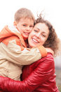 Mother and son embrace each other Royalty Free Stock Photo