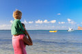 Mother and son enjoying tropical vacation in mauritius Royalty Free Stock Images