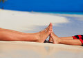 Mother and son feet on summer beach Royalty Free Stock Photo