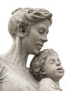 Mother and son a marble statue of a on white background Royalty Free Stock Photos