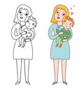 Mother and son mommy her cute illustration Stock Images