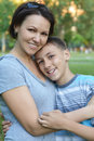 Mother with son in park Royalty Free Stock Photo