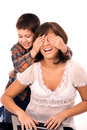 Mother and son playing hide and seek Stock Images