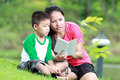Mother and son reading a book Royalty Free Stock Photo