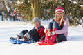 Mother And Son Riding On Sledges Through Snow Royalty Free Stock Image