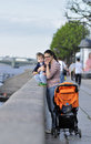 Mother and son stand on the embankment in sankt petersburg russia Royalty Free Stock Photo