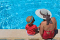Mother and son at the swimming pool vacation concept Stock Photography