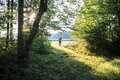 Mother and son on a walk in nature view from behind of her toddler walking woods early summer evening Royalty Free Stock Image