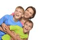 Mother with the sons a beautiful caucasian of fooling around on a white background Stock Photos