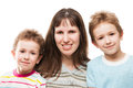 Mother and sons smiling little family happiness Royalty Free Stock Photos