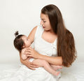 Mother talk with baby, play and having fun Royalty Free Stock Photo
