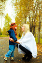 Mother talking to her son Royalty Free Stock Photos