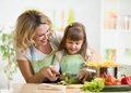 Mother teaches daughter cooking on kitchen