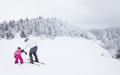 Mother Teaching Daughter to Ski at Mont-Tremblant Ski Resort Stock Photos
