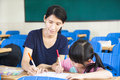 Mother teaching little girl drawing picture in the classroom Royalty Free Stock Photos