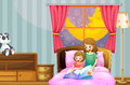Mother telling bedtime story at night Royalty Free Stock Photo