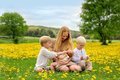 Mother and Three Children Playing in Flower Meadow Royalty Free Stock Photo