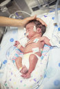 Newborn premature baby in the NICU intensive care Royalty Free Stock Photo