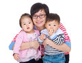 Mother with twins isolated on white Stock Image