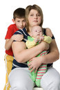 Mother with two children Royalty Free Stock Photos