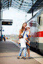 Mother and two kids waiting for train Royalty Free Stock Images