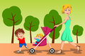 Mother walking with her kids a vector illustration of beautiful Stock Photo
