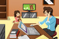 Mother working in the office a vector illustration of while her daughter watching television Stock Photo