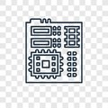 stock image of  Motherboard concept vector linear icon on transparent b