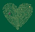 Motherboard heart Stock Photo
