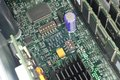 Motherboard with microcircuits ram processors and radiator green server Stock Photo