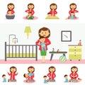 Motherhood Concept Illustration In Flat Design. Royalty Free Stock Photo