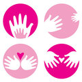 Motherhood, helpful hands icons Royalty Free Stock Photos