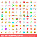 100 motherhood icons set, cartoon style