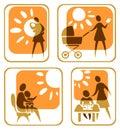 Motherhood symbols set