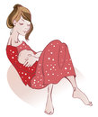 Motherhood young woman in a red dress holding her tiny son Stock Photos