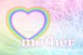 Mothering sunday rainbow heart frame pastel colored swirling background with a striped hollow on the left and a white mother below Stock Photography