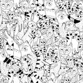 Mothers and babies coloring page. Black and white seamless pattern with doodle animals