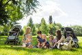 Mothers and children enjoying picnic in park summer Royalty Free Stock Photo