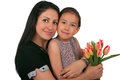 Mothers day beautiful girl and her mother celebrating Royalty Free Stock Image