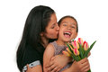 Mothers day beautiful girl and her mother celebrating Stock Image