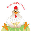 Mothers day card as doodles of funny and happy mother chicken hugging her eggs in bright colors isolated on white background Royalty Free Stock Photos