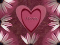 Mothers day card with heart and flower Stock Image