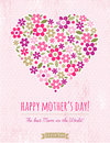 Mothers Day card with heart of flowers on pink background Royalty Free Stock Photo