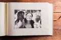 Mothers day composition. Photo album, black-and-white picture. W Royalty Free Stock Photo